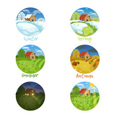 four seasons landscapes with inscription set vector image