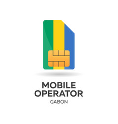 Gabon mobile operator sim card with flag vector