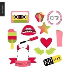 Girlish icons set vector image