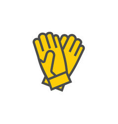 gloves colorful icon garden tool and vector image