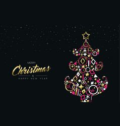 Gold christmas pine tree made of golden decoration vector