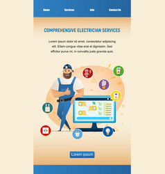 Happy electrician man leaning on computer screen vector