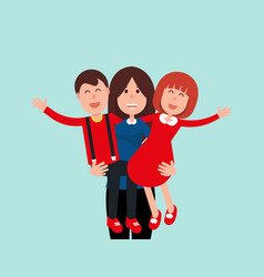 happy mother mommy holding his son and daughter vector image