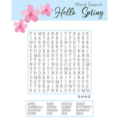 Hello spring word search puzzle logic game vector
