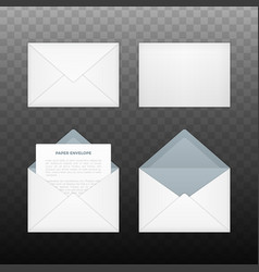 Isolated opened and closed white envelopes vector