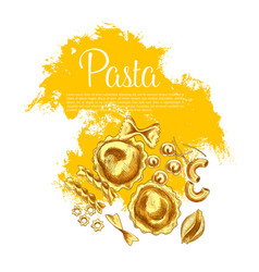 italian pasta and spaghetti sketch poster design vector image