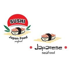Japanese sushi seafood emblem vector