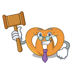 Judge pretzel mascot cartoon style vector