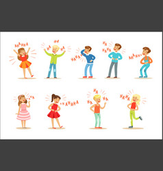 Kids hysterically laughing out loud set of cartoon vector