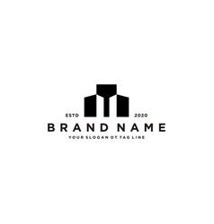 Letter m and building logo design vector