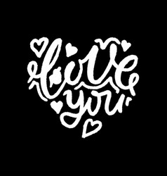 lettering love you in the shape of the heart vector image
