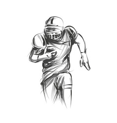 Line sketch of american football player vector