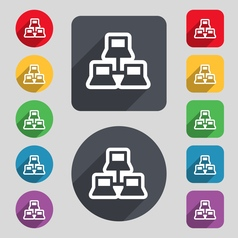 local area network icon sign A set of 12 colored vector image
