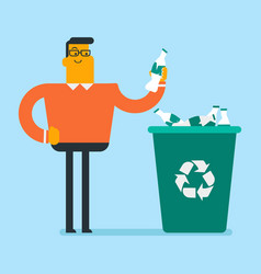 man throwing plastic bottle into a recycling bin vector image
