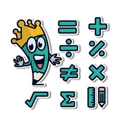 math vinyl sticker icons vector image