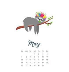May 2019 year calendar page vector