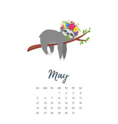may 2019 year calendar page vector image