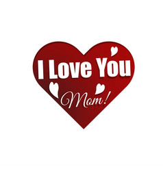 Mothers day greeting card with sign i love you mom vector