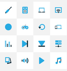 music colorful icons set collection of finish vector image
