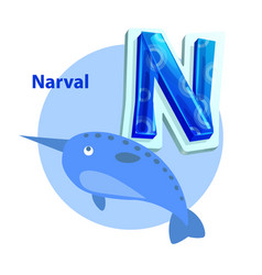 narval is for n letter cartoon children alphabet vector image