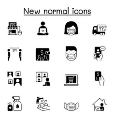 new normal lifestyle icon set graphic design vector image