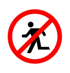 No Run Sign on white background vector