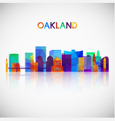 oakland skyline silhouette in colorful geometric vector image