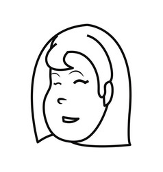 Outlined face girl happy character vector