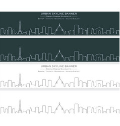 Paris single line skyline banner vector