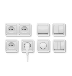 Realistic white switches and socket set vector