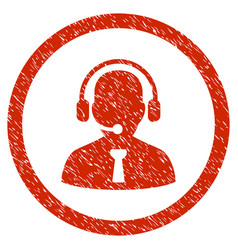 reception operator rounded grainy icon vector image