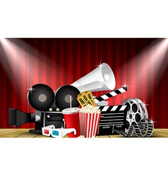 Red curtain cinemas films on the stage vector image
