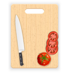 Red tomato slices and knife on the chopping board vector