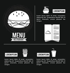 Restaurant menu infographic in black and white vector