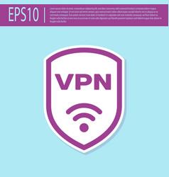 Retro purple shield with vpn and wifi wireless vector