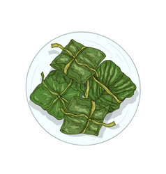 rice in banana leaves hand drawn vector image