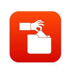 Robbery secret data in folder icon digital red vector