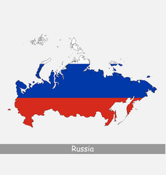Russia flag map vector