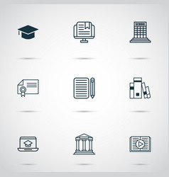 school icons set with certificate books audio vector image