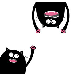 Screaming cat set head silhouette two eyes teeth vector