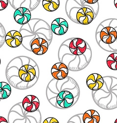 Seamless doodle pattern with bright candy handmade vector image