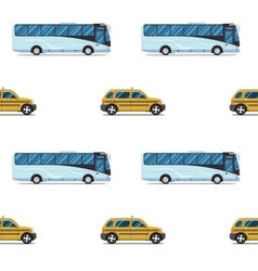 seamless pattern of the cab and passenger bus vector image