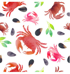 Seamless pattern shells crabs leaves seafood vector
