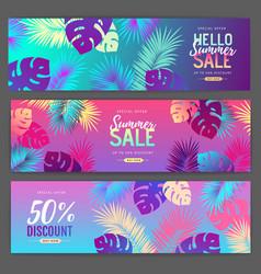 set colorful summer big sale tropical gradient vector image
