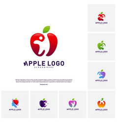 Set of apple with fun people healthy life logo vector