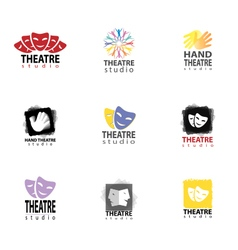 Set of theatre studio logo vector