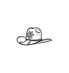 sheriff hat hand drawn outline doodle icon vector image