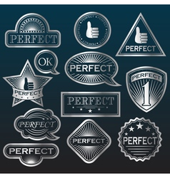 Silver Labels Perfect vector