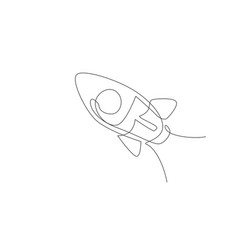 single continuous line drawing rocket launch fly vector image