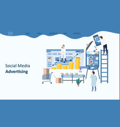 social media advertising mockup landing page vector image
